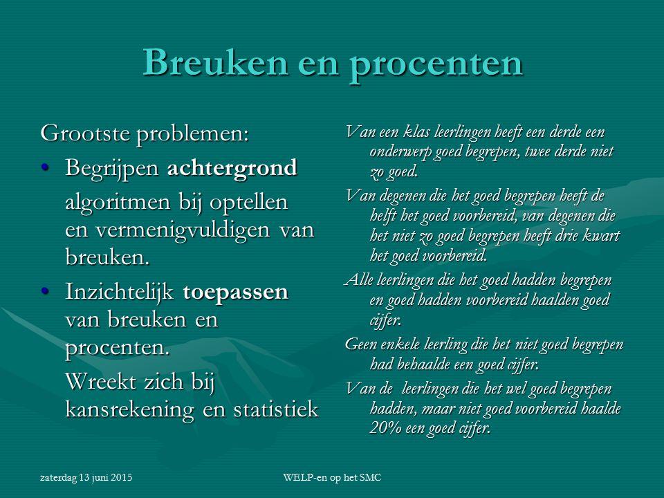 zaterdag 13 juni 2015WELP-en op het SMC Breuken en procenten Grootste problemen: Begrijpen achtergrondBegrijpen achtergrond algoritmen bij optellen en