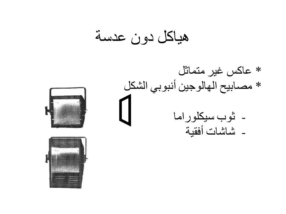 هياكل دون عدسة * عاكس غير متماثل * مصابيح الهالوجين أنبوبي الشكل - ثوب سيكلوراما - شاشات أفقية