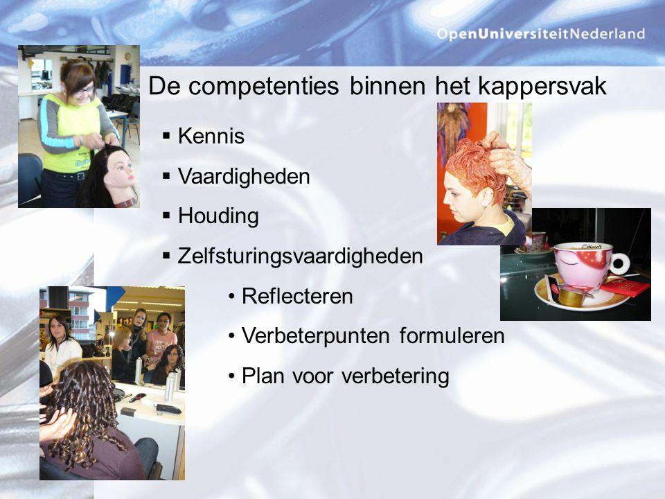 De competenties binnen het kappersvak  Kennis  Vaardigheden  Houding  Zelfsturingsvaardigheden Reflecteren Verbeterpunten formuleren Plan voor verbetering