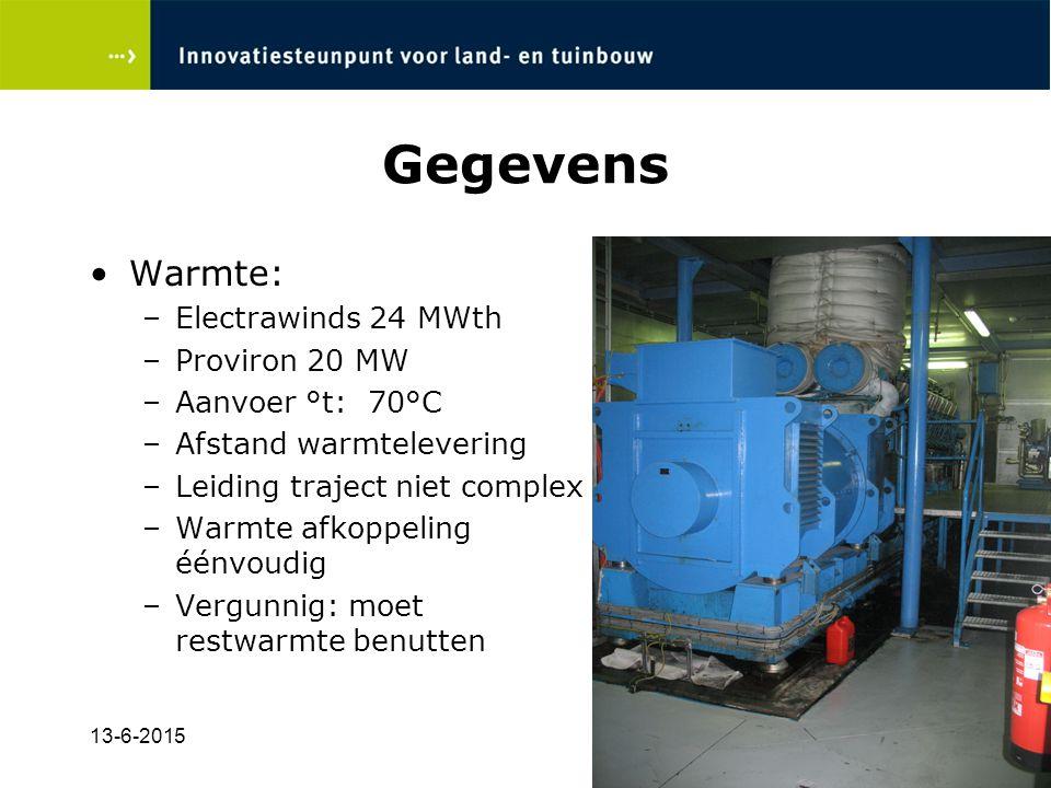 13-6-201513 Gegevens Warmte: –Electrawinds 24 MWth –Proviron 20 MW –Aanvoer °t: 70°C –Afstand warmtelevering –Leiding traject niet complex –Warmte afkoppeling éénvoudig –Vergunnig: moet restwarmte benutten