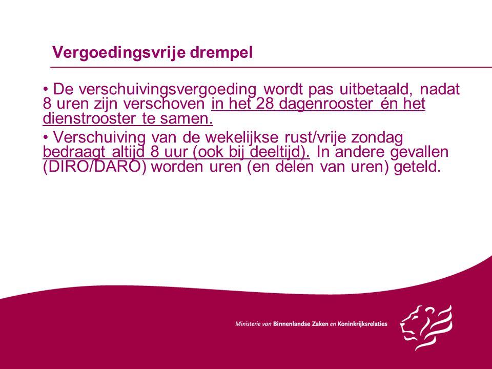 Vergoedingsvrije drempel De verschuivingsvergoeding wordt pas uitbetaald, nadat 8 uren zijn verschoven in het 28 dagenrooster én het dienstrooster te samen.