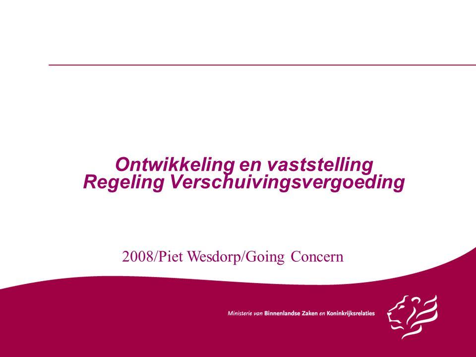 Ontwikkeling en vaststelling Regeling Verschuivingsvergoeding 2008/Piet Wesdorp/Going Concern
