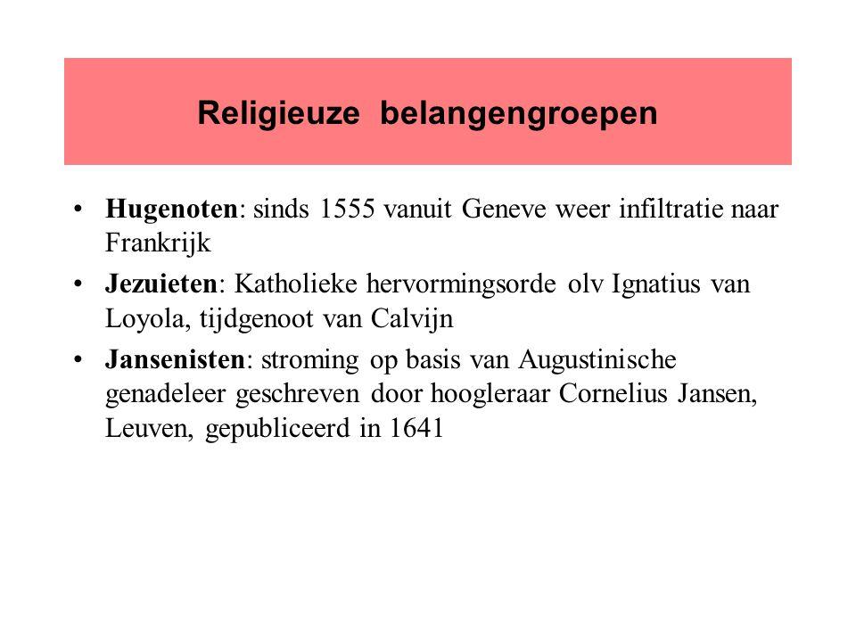 Religieuze belangengroepen Hugenoten: sinds 1555 vanuit Geneve weer infiltratie naar Frankrijk Jezuieten: Katholieke hervormingsorde olv Ignatius van Loyola, tijdgenoot van Calvijn Jansenisten: stroming op basis van Augustinische genadeleer geschreven door hoogleraar Cornelius Jansen, Leuven, gepubliceerd in 1641