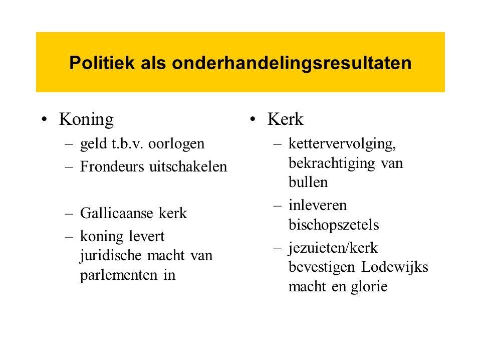 Politiek als onderhandelingsresultaten Koning –geld t.b.v.