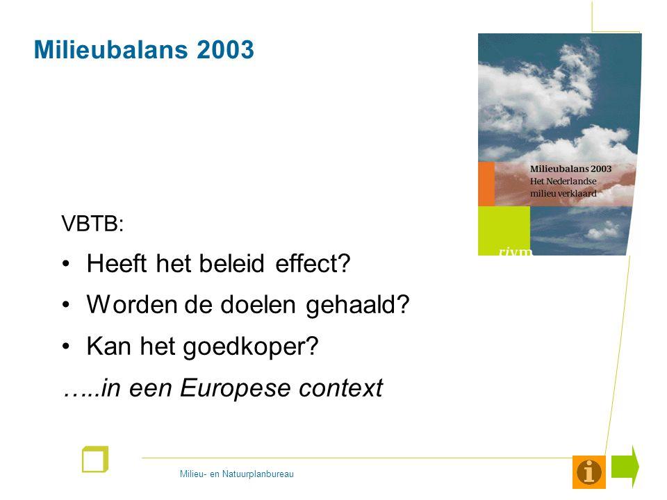 Milieu- en Natuurplanbureau r Milieubalans 2003 VBTB: Heeft het beleid effect? Worden de doelen gehaald? Kan het goedkoper? …..in een Europese context