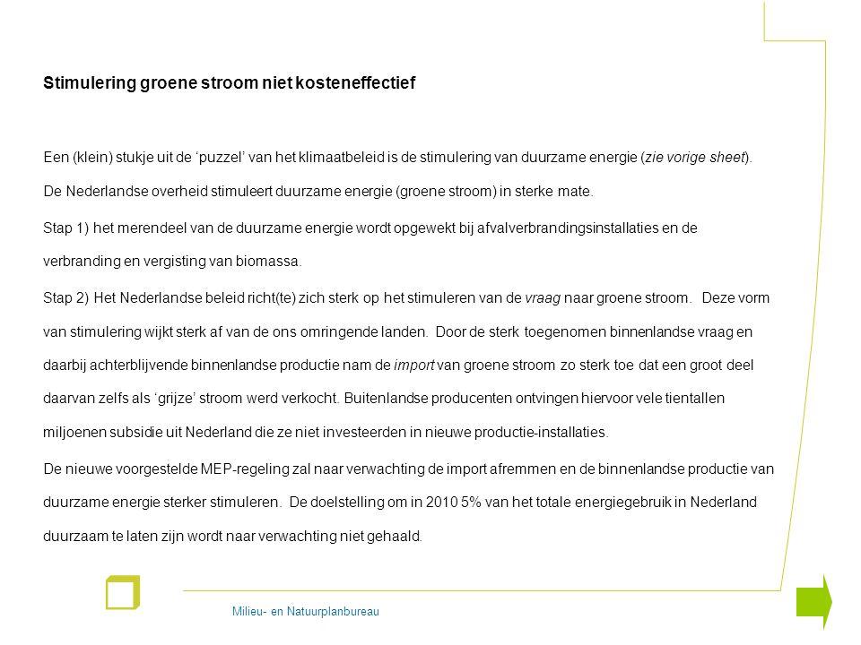 Milieu- en Natuurplanbureau r Stimulering groene stroom niet kosteneffectief Een (klein) stukje uit de 'puzzel' van het klimaatbeleid is de stimulerin