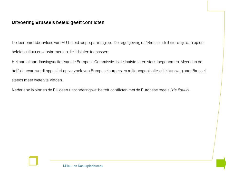 Milieu- en Natuurplanbureau r Uitvoering Brussels beleid geeft conflicten De toenemende invloed van EU-beleid roept spanning op. De regelgeving uit 'B