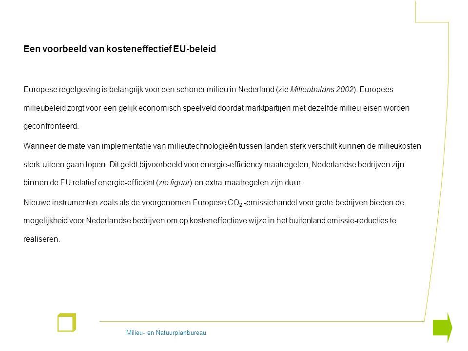 Milieu- en Natuurplanbureau r Een voorbeeld van kosteneffectief EU-beleid Europese regelgeving is belangrijk voor een schoner milieu in Nederland (zie Milieubalans 2002).
