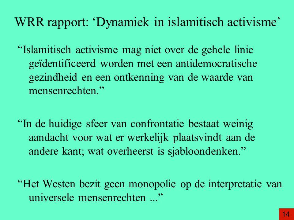 """WRR rapport: 'Dynamiek in islamitisch activisme' """"Islamitisch activisme mag niet over de gehele linie geïdentificeerd worden met een antidemocratische"""