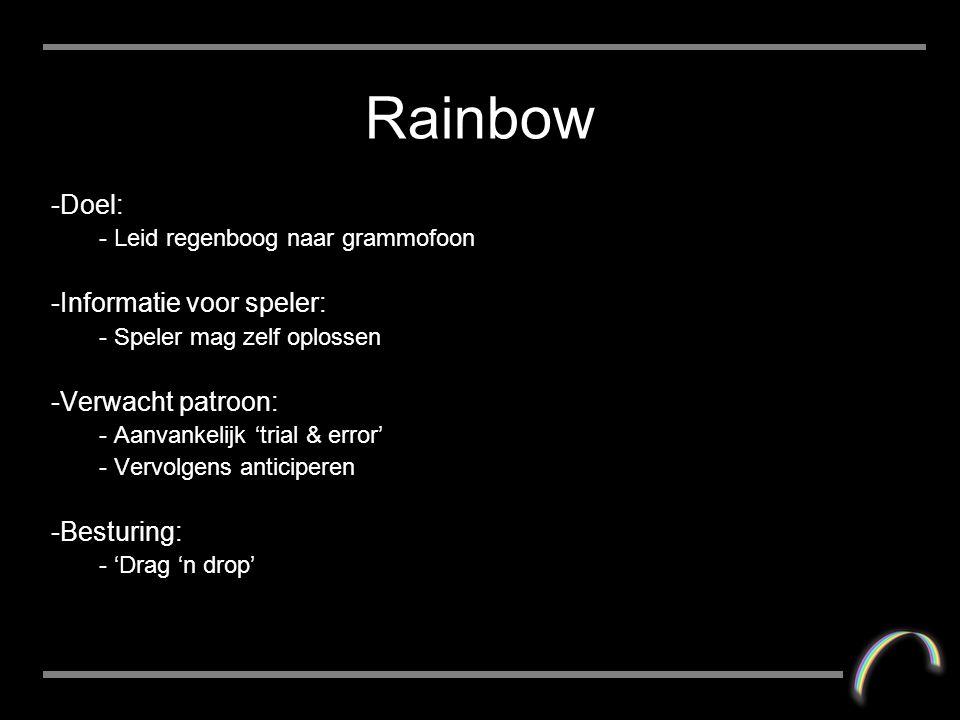 Rainbow -Doel: - Leid regenboog naar grammofoon -Informatie voor speler: - Speler mag zelf oplossen -Verwacht patroon: - Aanvankelijk 'trial & error' - Vervolgens anticiperen -Besturing: - 'Drag 'n drop'
