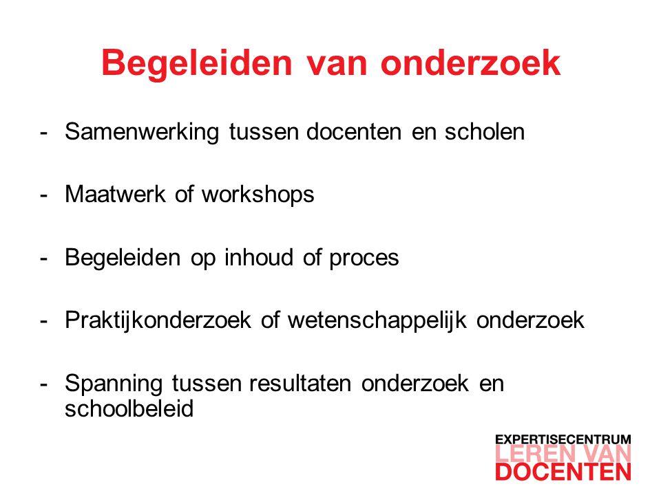 Begeleiden van onderzoek -Samenwerking tussen docenten en scholen -Maatwerk of workshops -Begeleiden op inhoud of proces -Praktijkonderzoek of wetensc