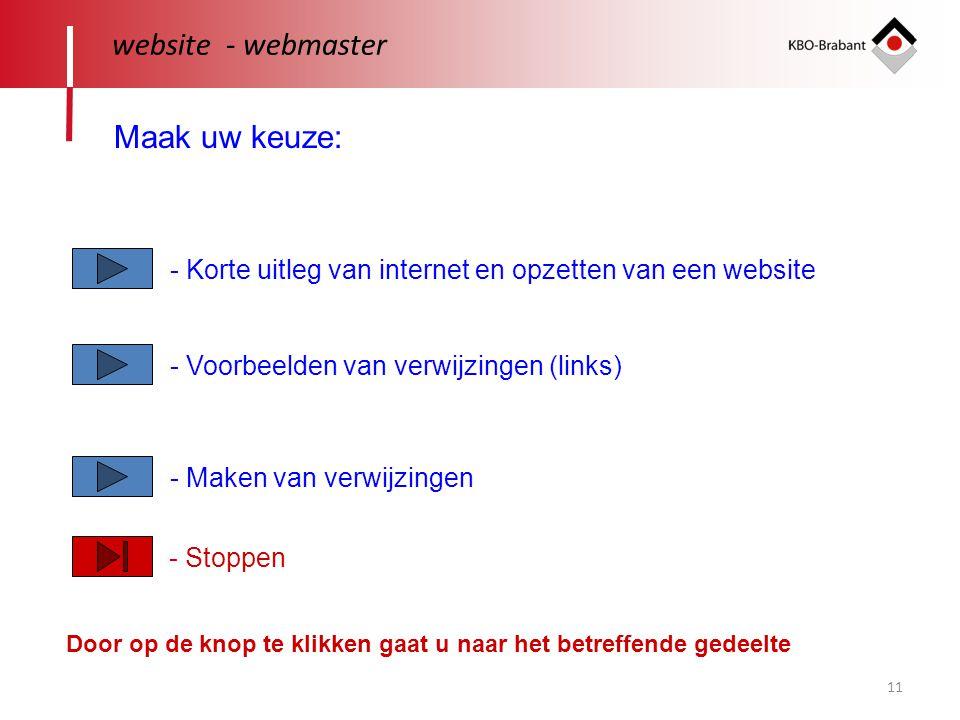 11 website - webmaster Maak uw keuze: - Korte uitleg van internet en opzetten van een website - Voorbeelden van verwijzingen (links) - Maken van verwijzingen Door op de knop te klikken gaat u naar het betreffende gedeelte - Stoppen
