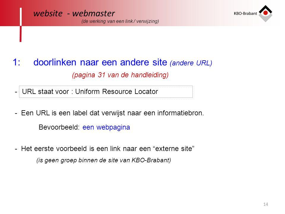 14 website - webmaster 1: doorlinken naar een andere site (andere URL) URL staat voor : Uniform Resource Locator - Een URL is een label dat verwijst naar een informatiebron.