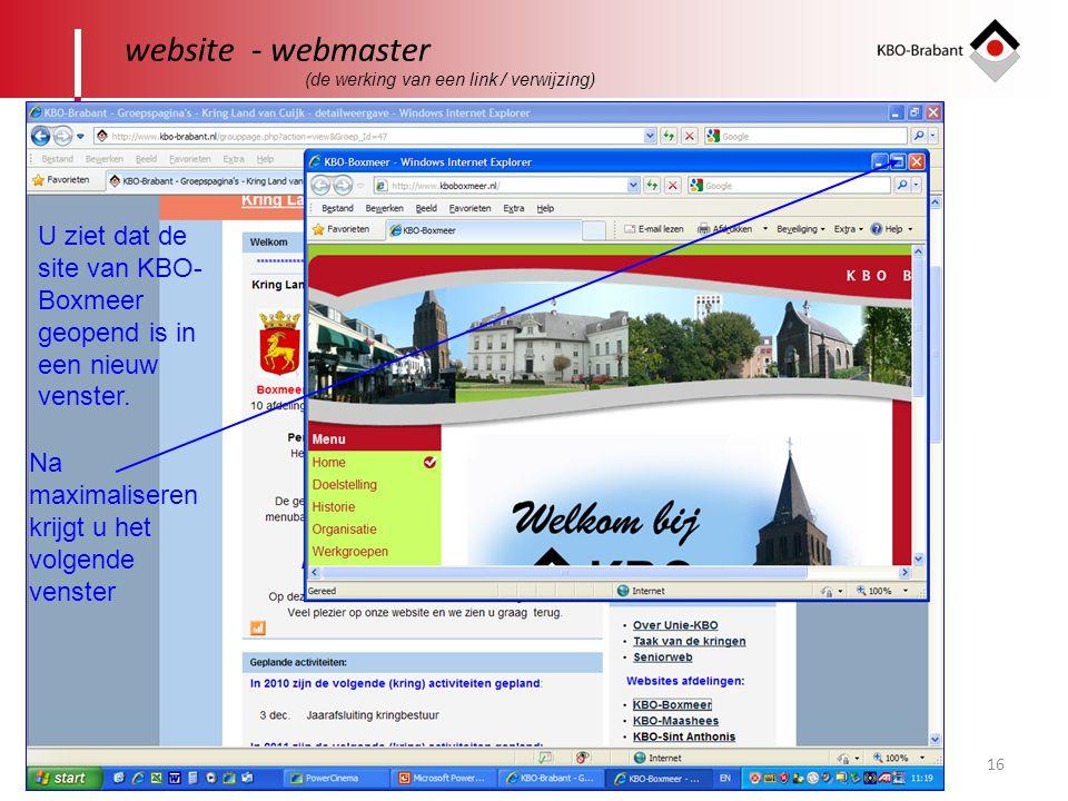 16 website - webmaster U ziet dat de site van KBO- Boxmeer geopend is in een nieuw venster.