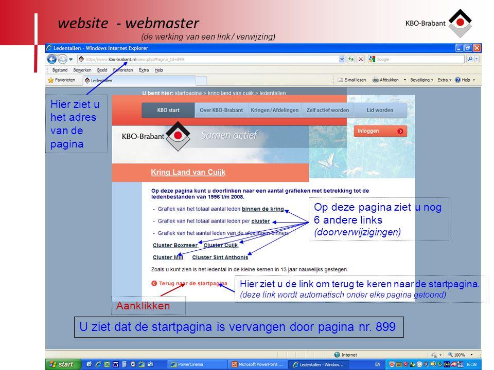 24 website - webmaster Hier ziet u het adres van de pagina U ziet dat de startpagina is vervangen door pagina nr.
