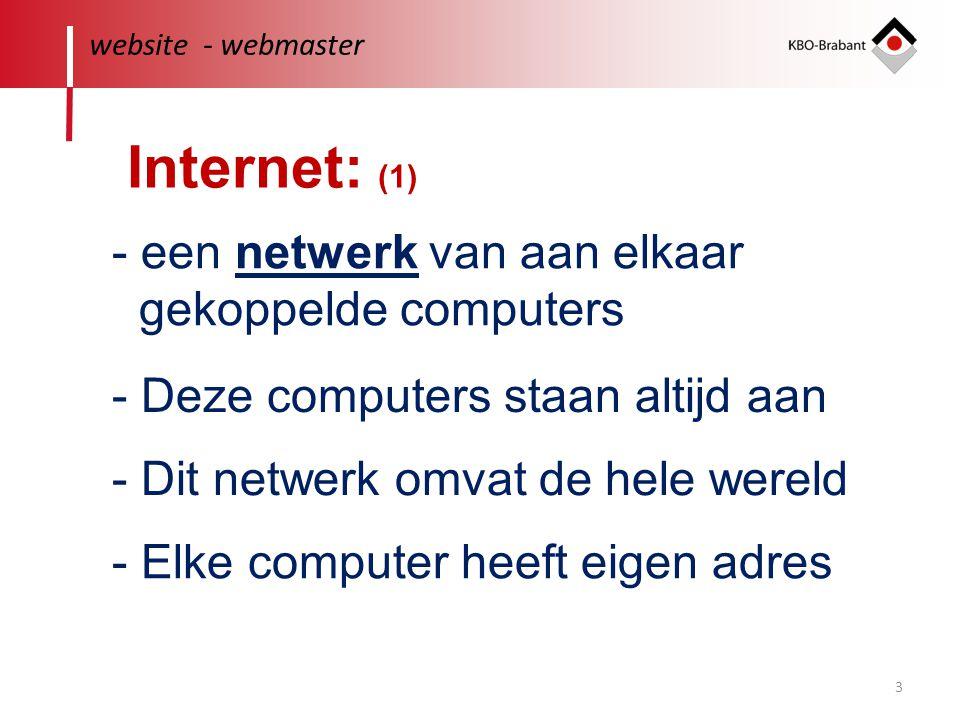 3 - een netwerk van aan elkaar gekoppelde computers website - webmaster - Dit netwerk omvat de hele wereld - Elke computer heeft eigen adres - Deze computers staan altijd aan Internet: (1)