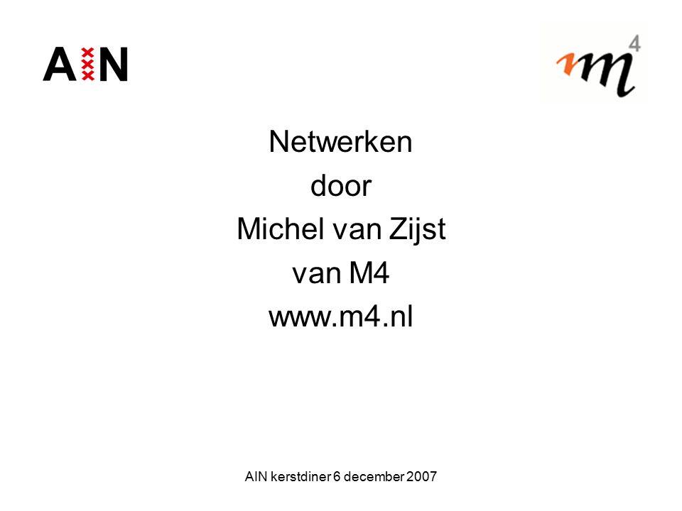 AIN kerstdiner 6 december 2007 Netwerken door Michel van Zijst van M4 www.m4.nl