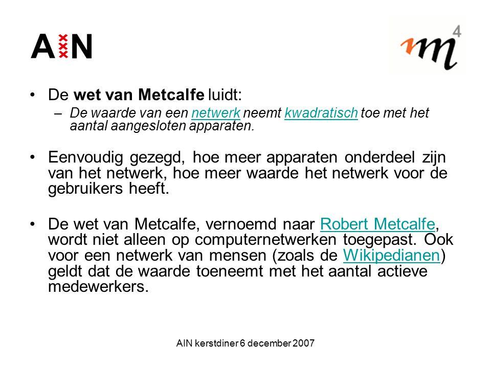 AIN kerstdiner 6 december 2007 De wet van Metcalfe luidt: –De waarde van een netwerk neemt kwadratisch toe met het aantal aangesloten apparaten.netwer