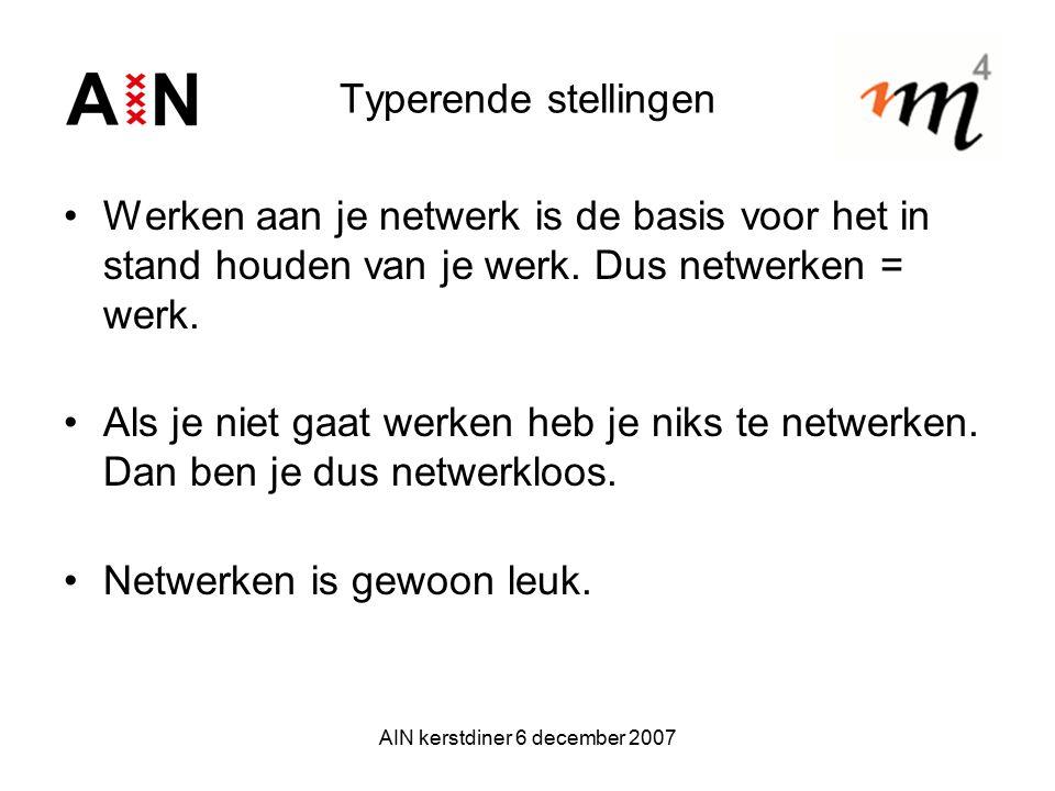 AIN kerstdiner 6 december 2007 Typerende stellingen Werken aan je netwerk is de basis voor het in stand houden van je werk. Dus netwerken = werk. Als