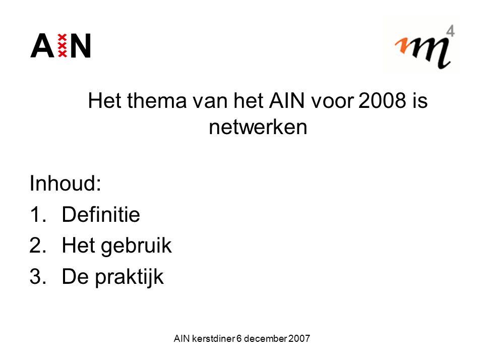 AIN kerstdiner 6 december 2007 Het thema van het AIN voor 2008 is netwerken Inhoud: 1.Definitie 2.Het gebruik 3.De praktijk