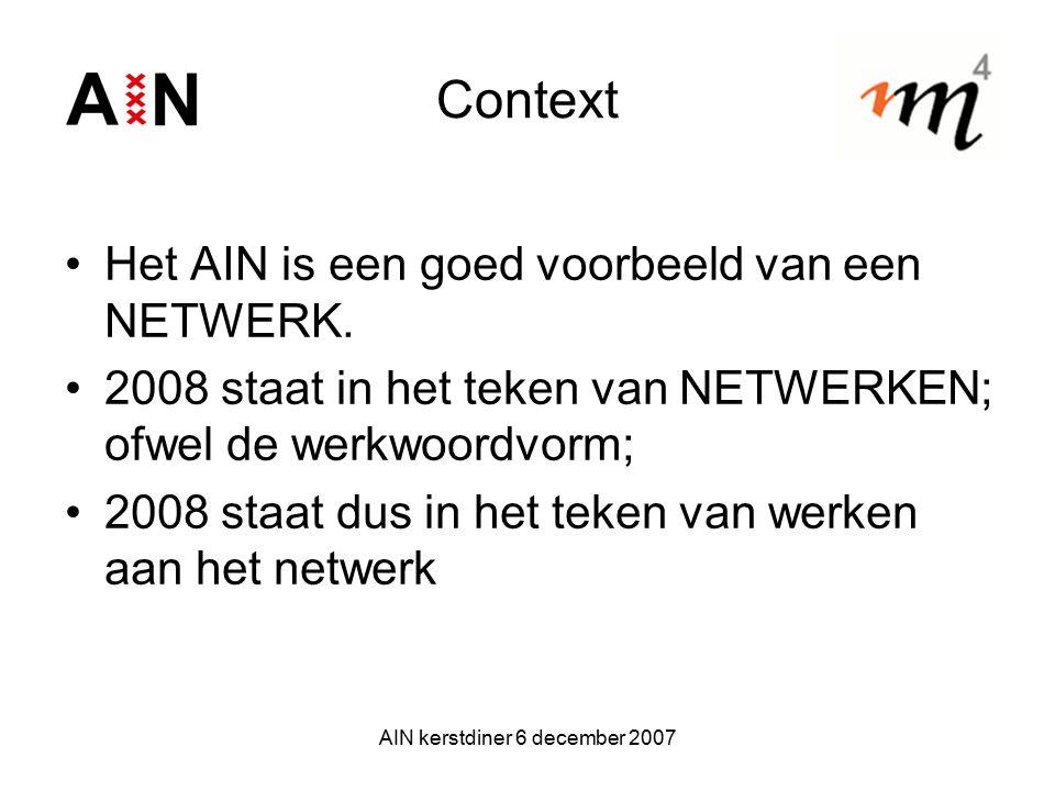 AIN kerstdiner 6 december 2007 Context Het AIN is een goed voorbeeld van een NETWERK. 2008 staat in het teken van NETWERKEN; ofwel de werkwoordvorm; 2