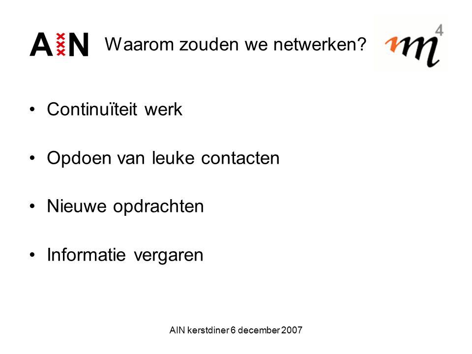 AIN kerstdiner 6 december 2007 Waarom zouden we netwerken? Continuïteit werk Opdoen van leuke contacten Nieuwe opdrachten Informatie vergaren