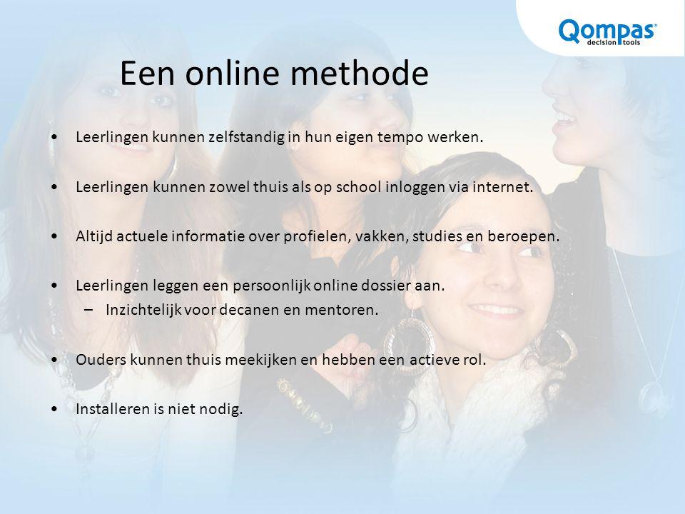 Het materiaal De site http://profielkeuze.qompas.nl http://profielkeuze.qompas.nl EntryCard Geeft toegang tot tests, opdrachten en het persoonlijk dossier.