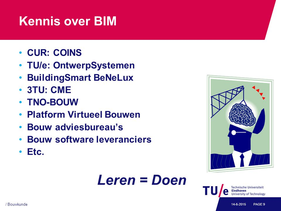 / Bouwkunde PAGE 914-6-2015 Kennis over BIM CUR: COINS TU/e: OntwerpSystemen BuildingSmart BeNeLux 3TU: CME TNO-BOUW Platform Virtueel Bouwen Bouw adviesbureau's Bouw software leveranciers Etc.