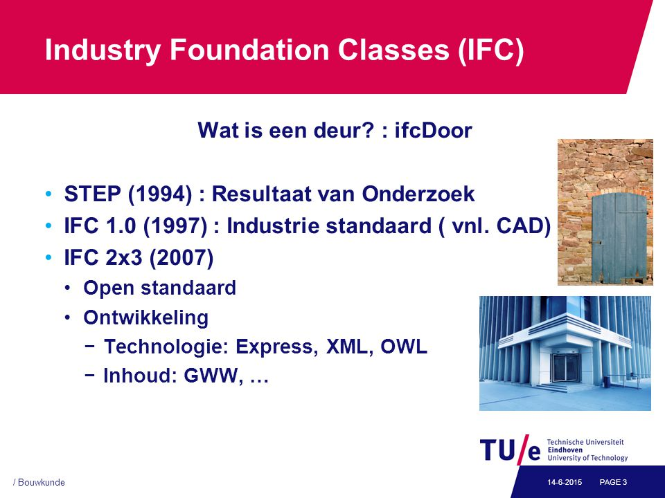 / Bouwkunde PAGE 314-6-2015 Industry Foundation Classes (IFC) Wat is een deur.