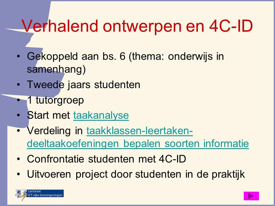 Verhalend ontwerpen en 4C-ID Gekoppeld aan bs. 6 (thema: onderwijs in samenhang) Tweede jaars studenten 1 tutorgroep Start met taakanalysetaakanalyse