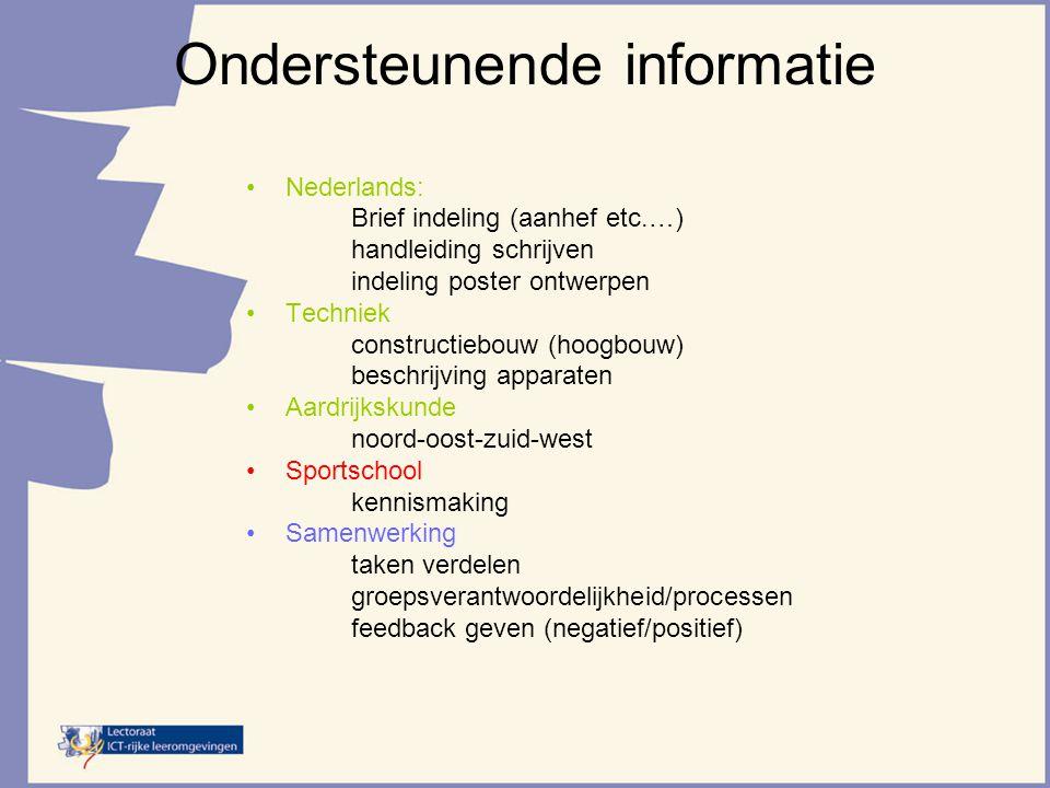 Ondersteunende informatie Nederlands: Brief indeling (aanhef etc.…) handleiding schrijven indeling poster ontwerpen Techniek constructiebouw (hoogbouw