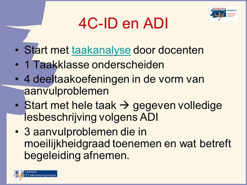 4C-ID en ADI Start met taakanalyse door docententaakanalyse 1 Taakklasse onderscheiden 4 deeltaakoefeningen in de vorm van aanvulproblemen Start met h