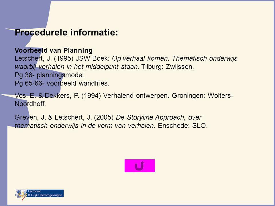 Procedurele informatie: Voorbeeld van Planning Letschert, J. (1995) JSW Boek: Op verhaal komen. Thematisch onderwijs waarbij verhalen in het middelpun