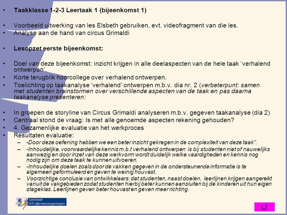 Taakklasse 1-2-3 Leertaak 1 (bijeenkomst 1) Voorbeeld uitwerking van les Elsbeth gebruiken, evt. videofragment van die les. Analyse aan de hand van ci