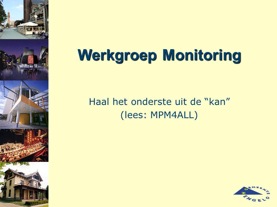 """Werkgroep Monitoring Haal het onderste uit de """"kan"""" (lees: MPM4ALL)"""