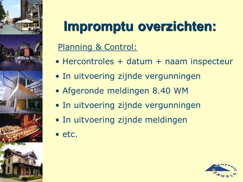 Impromptu overzichten: Planning & Control: Hercontroles + datum + naam inspecteur In uitvoering zijnde vergunningen Afgeronde meldingen 8.40 WM In uit