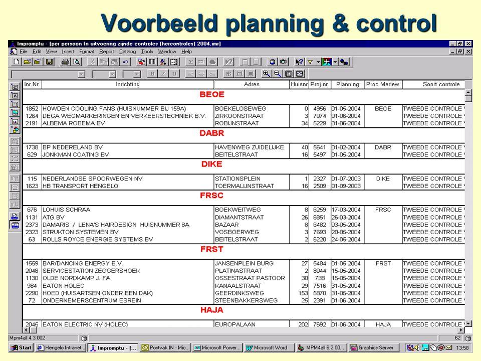 Voorbeeld planning & control