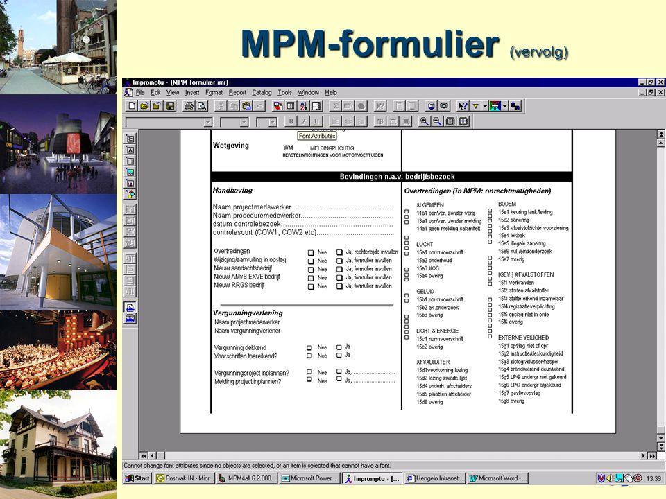 MPM-formulier (vervolg)