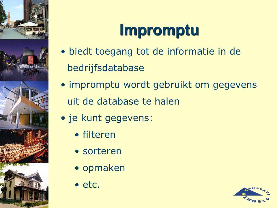 Impromptu biedt toegang tot de informatie in de bedrijfsdatabase impromptu wordt gebruikt om gegevens uit de database te halen je kunt gegevens: filte