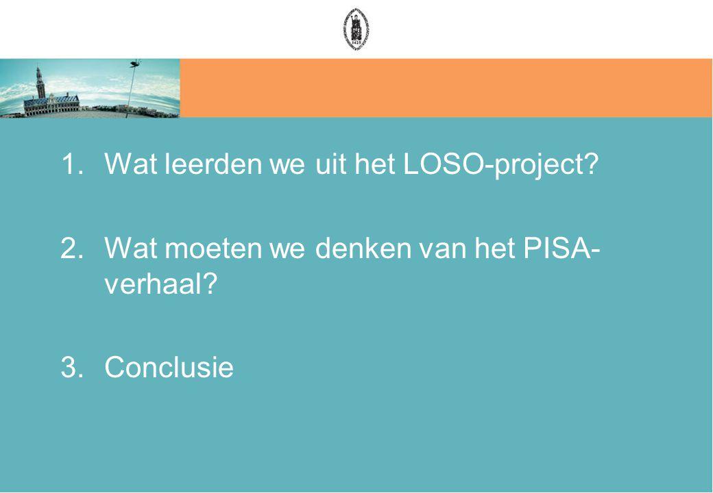 1.Wat leerden we uit het LOSO-project 2.Wat moeten we denken van het PISA- verhaal 3.Conclusie