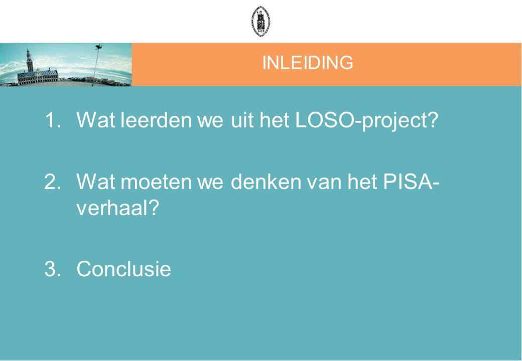 INLEIDING 1.Wat leerden we uit het LOSO-project. 2.Wat moeten we denken van het PISA- verhaal.