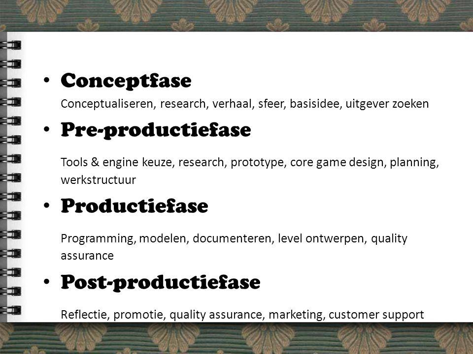 Conceptfase Conceptualiseren, research, verhaal, sfeer, basisidee, uitgever zoeken Pre-productiefase Tools & engine keuze, research, prototype, core game design, planning, werkstructuur Productiefase Programming, modelen, documenteren, level ontwerpen, quality assurance Post-productiefase Reflectie, promotie, quality assurance, marketing, customer support
