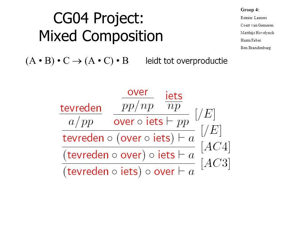 CG04 Project: Mixed Composition (A B) C  (A C) B leidt tot overproductie Groep 4: Reinier Lamers Coert van Gemeren Matthijs Hovelynck Harm Faber Ben