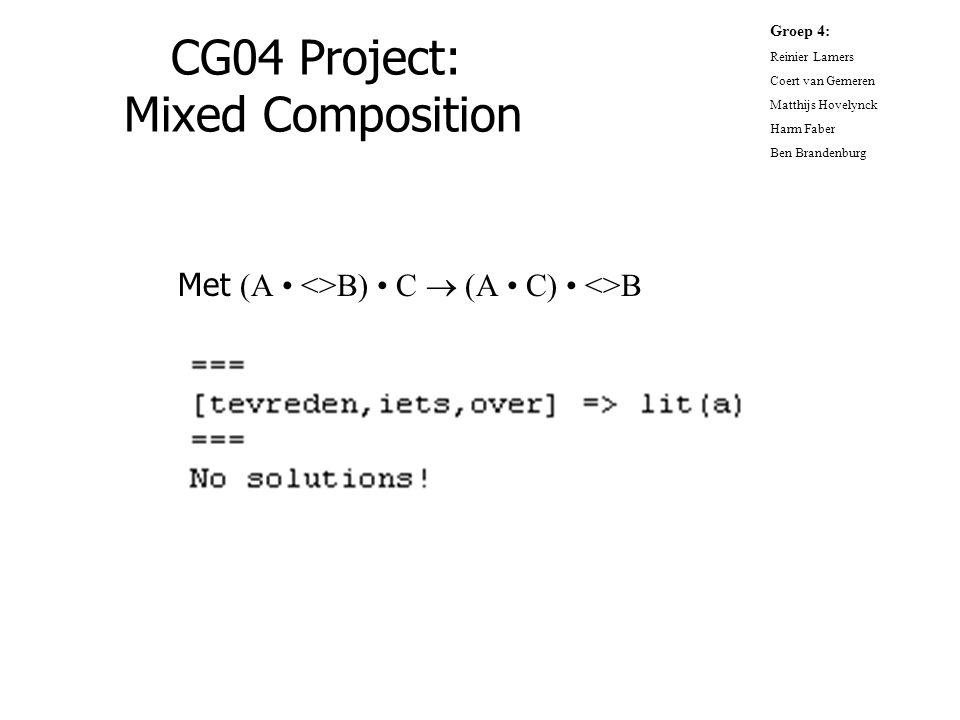 CG04 Project: Mixed Composition Met (A <>B) C  (A C) <>B Groep 4: Reinier Lamers Coert van Gemeren Matthijs Hovelynck Harm Faber Ben Brandenburg