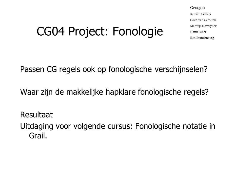 CG04 Project: Fonologie Passen CG regels ook op fonologische verschijnselen? Waar zijn de makkelijke hapklare fonologische regels? Resultaat Uitdaging