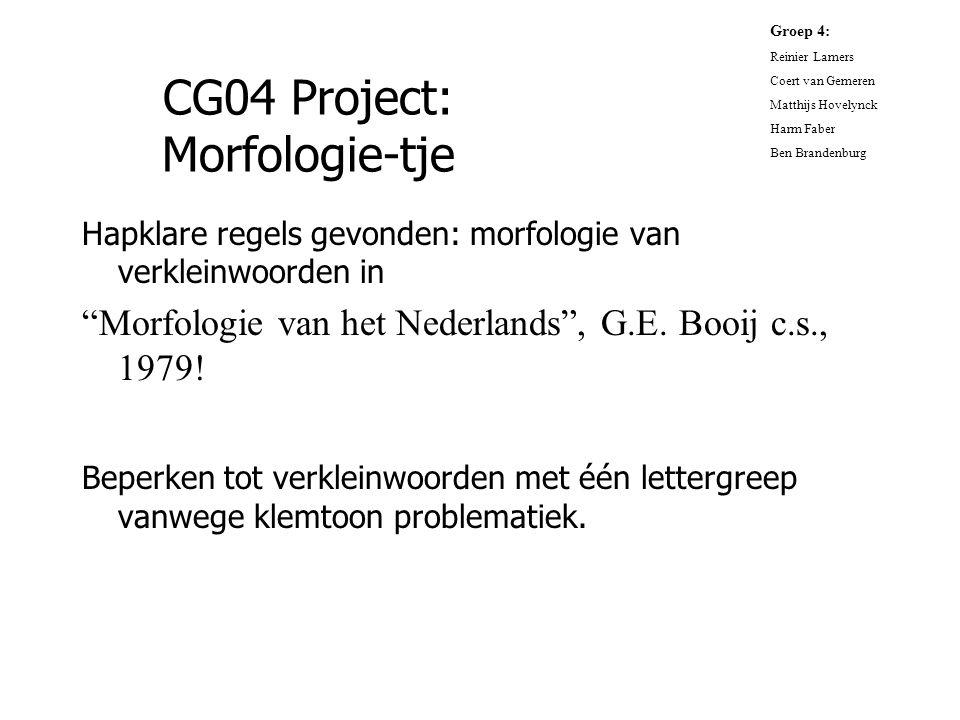 """CG04 Project: Morfologie-tje Hapklare regels gevonden: morfologie van verkleinwoorden in """"Morfologie van het Nederlands"""", G.E. Booij c.s., 1979! Beper"""