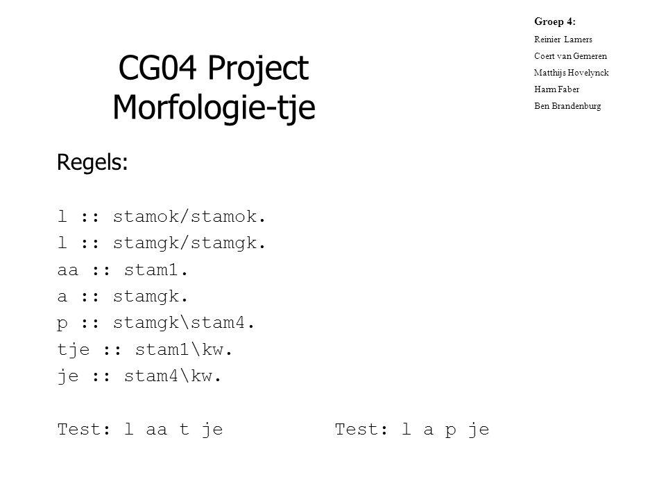 CG04 Project Morfologie-tje Regels: l :: stamok/stamok. l :: stamgk/stamgk. aa :: stam1. a :: stamgk. p :: stamgk\stam4. tje :: stam1\kw. je :: stam4\