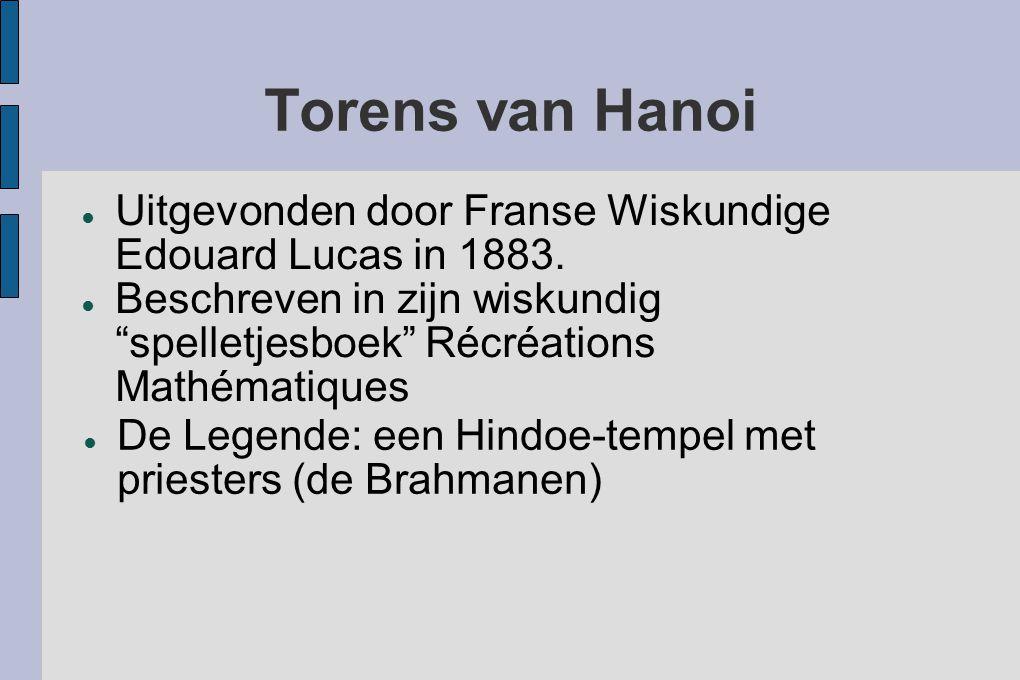 """Torens van Hanoi ● Uitgevonden door Franse Wiskundige Edouard Lucas in 1883. ● Beschreven in zijn wiskundig """"spelletjesboek"""" Récréations Mathématiques"""