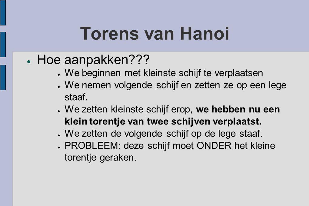Torens van Hanoi ● Hoe aanpakken??? ● We beginnen met kleinste schijf te verplaatsen ● We nemen volgende schijf en zetten ze op een lege staaf. ● We z