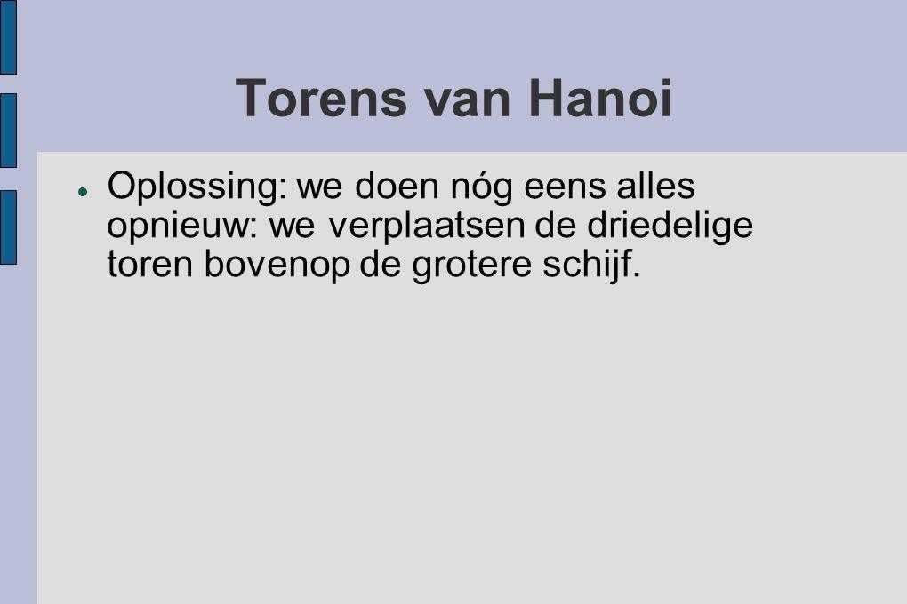 Torens van Hanoi ● Oplossing: we doen nóg eens alles opnieuw: we verplaatsen de driedelige toren bovenop de grotere schijf.